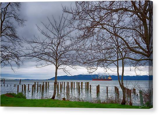 Freighter On The Columbia Canvas Print