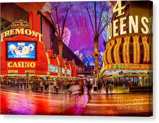 Traffic Canvas Print - Fremont Street Casinos by Az Jackson
