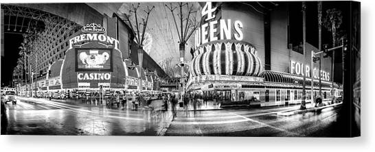 Traffic Canvas Print - Fremont Street Experience Bw by Az Jackson