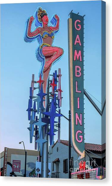 Fremont Street Lucky Lady And Gambling Neon Signs Canvas Print
