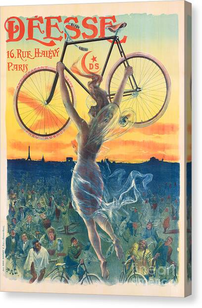 Paris Skyline Canvas Print - French Art Nouveau Poster For Deesse Bicycles, Circa 1898 by Pal