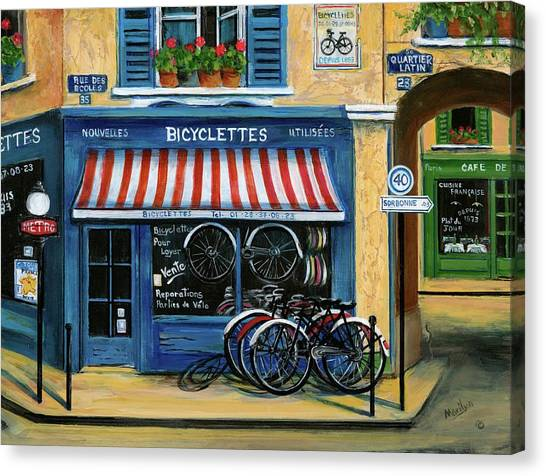 Street Cafe Canvas Print - French Bicycle Shop by Marilyn Dunlap