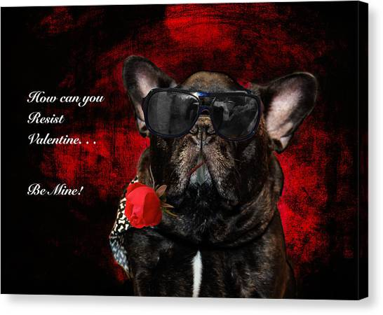 French Bull Dogs Canvas Print - French Bull Dog Valentine by Joni Eskridge