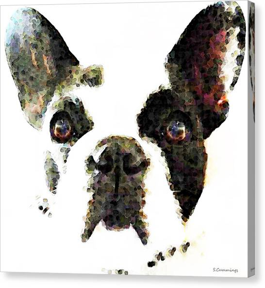 French Bull Dogs Canvas Print - French Bulldog Art - High Contrast by Sharon Cummings