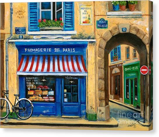 Flower Shop Canvas Print - French Cheese Shop by Marilyn Dunlap