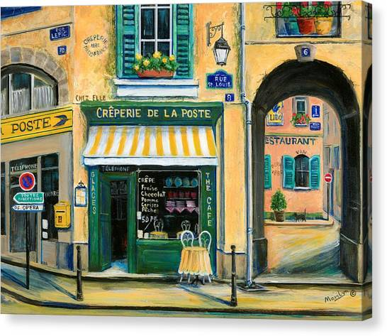 Flower Shop Canvas Print - French Creperie by Marilyn Dunlap