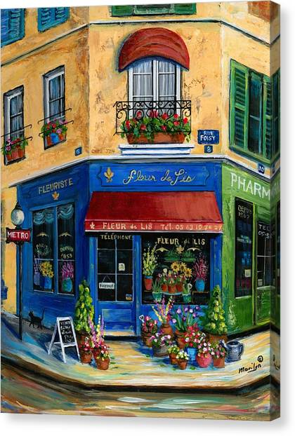 Flower Shop Canvas Print - French Flower Shop by Marilyn Dunlap