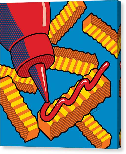 Condiments Canvas Print - French Fries On Blue by Ron Magnes