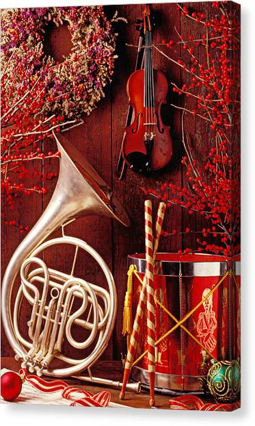 French Canvas Print - French Horn Christmas Still Life by Garry Gay