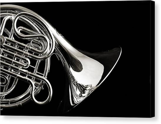 French Horn Isolated On Back Canvas Print