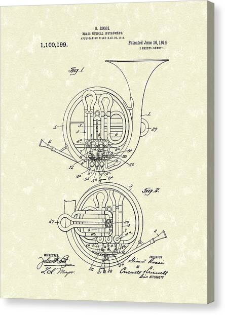 Trombones Canvas Print - French Horn Musical Instrument 1914 Patent by Prior Art Design