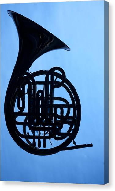 French Horn Silhouette On Blue Canvas Print