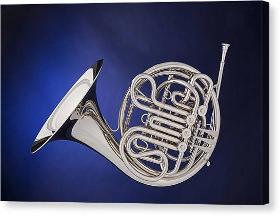 French Horn Silver Isolated On Blue Canvas Print
