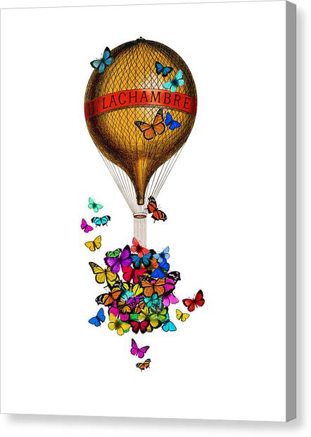 Yellow Butterfly Canvas Print - French Hot Air Balloon With Rainbow Butterflies Basket by Madame Memento