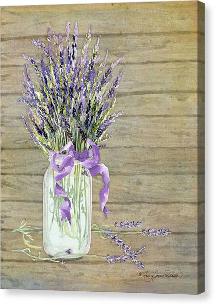 French Lavender Rustic Country Mason Jar Bouquet On Wooden Fence Canvas Print