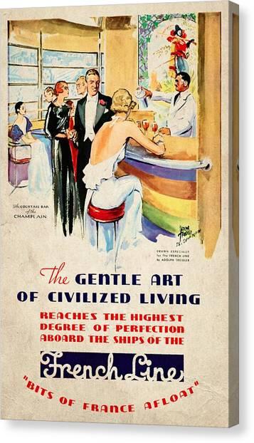 French Line - Bits Of France Afloat - Vintage Poster Vintagelized Canvas Print