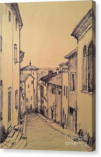 French Little Town Drawing Canvas Print