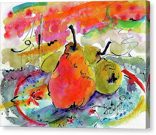 French Pears Watercolor And Ink Whimsical Art Canvas Print