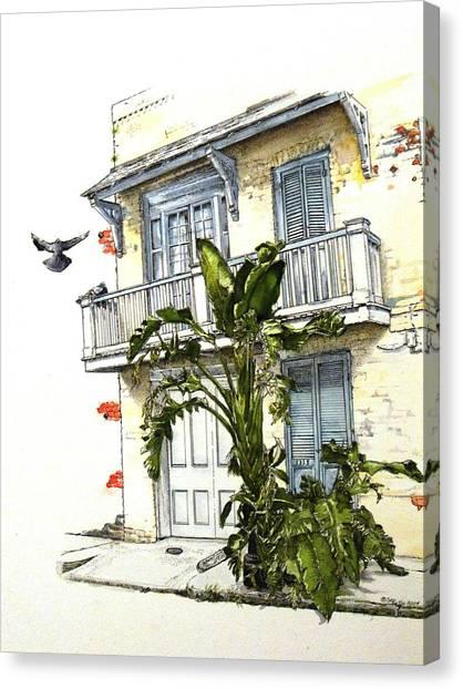 Banana Tree Canvas Print - French Quarter Crib by D K Betts
