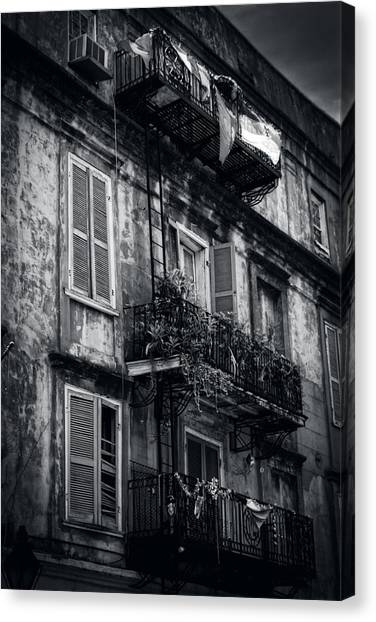 French Quarter Shutters And Balconies In Black And White Canvas Print