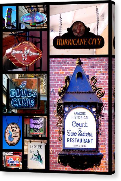 French Quarter Sign Collage Canvas Print