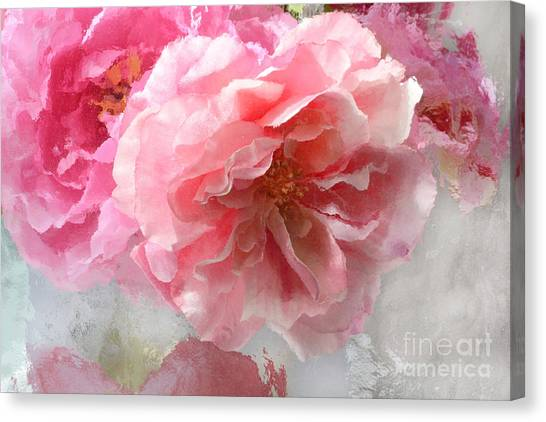 Impressionistic Canvas Print - French Shabby Chic Romantic Impressionistic Pink Roses - Painted Pink French Roses Belle Fleur  by Kathy Fornal