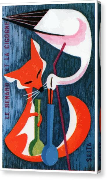 Storks Canvas Print - French The Fox And The Stork Matchbox Label by Retro Graphics