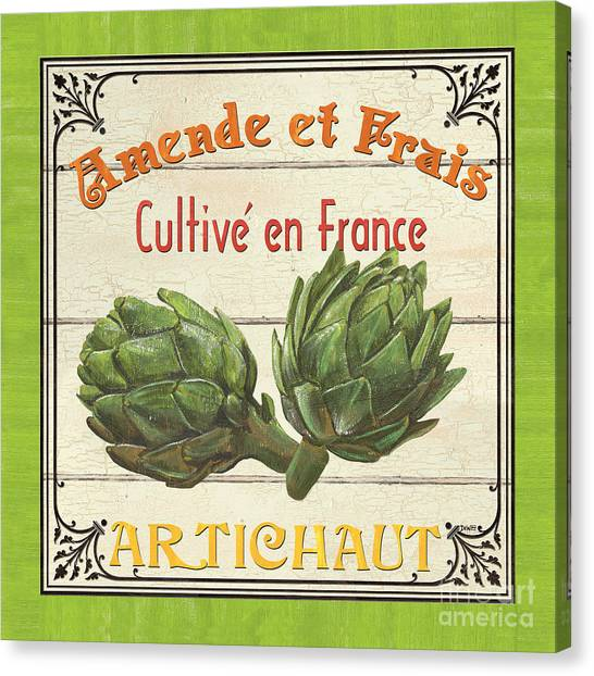 Artichoke Canvas Print - French Vegetable Sign 2 by Debbie DeWitt