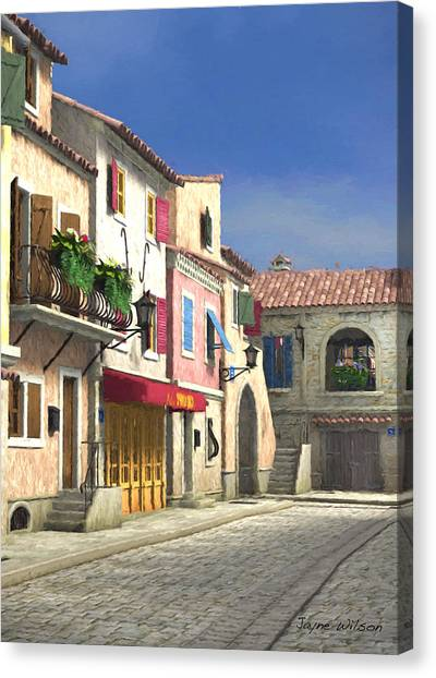 French Village Scene With Cobblestone Street Canvas Print