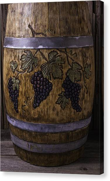 Wine Barrels Canvas Print - French Wine Barrel With Grapes by Garry Gay
