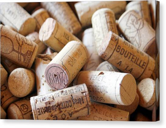 Wine Art Canvas Print - French Wine Corks by Georgia Fowler