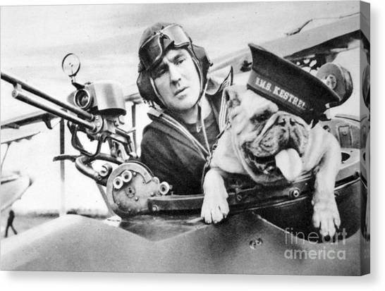 French Bull Dogs Canvas Print - French World War Two Postcard Celebrating The British Bulldog As A Mascot For The Royal Air Force by French School