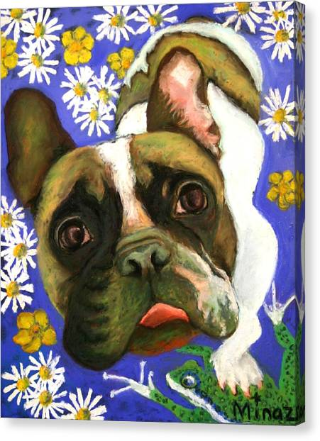 French Bull Dogs Canvas Print - Frenchie Plays With Frogs by Minaz Jantz