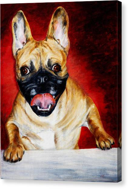 Frenchie With A Smile Canvas Print by Karen Peterson