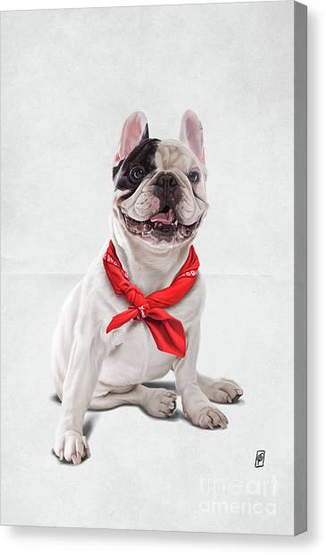 Canvas Print featuring the digital art Frenchie Wordless by Rob Snow