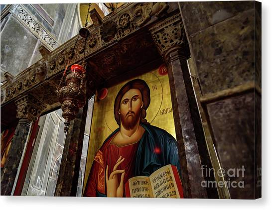 St Kyriaki Canvas Print - Fresco Painting Of Jesus At The Church Of Holy Luke At Monastery Of Hosios Loukas In Greece  by Global Light Photography - Nicole Leffer