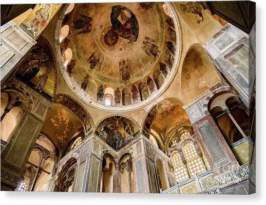 St Kyriaki Canvas Print - Frescoes And Mosaics Of The Church Of Holy Luke At Monastery Of Hosios Loukas In Greece by Global Light Photography - Nicole Leffer