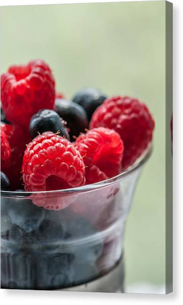 Raspberries Canvas Print - Fresh And Yummy by Maggie Terlecki