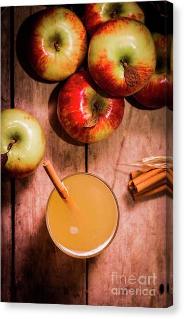 Smoothie Canvas Print - Fresh Apple Cider With Cinnamon Sticks And Apples by Jorgo Photography - Wall Art Gallery
