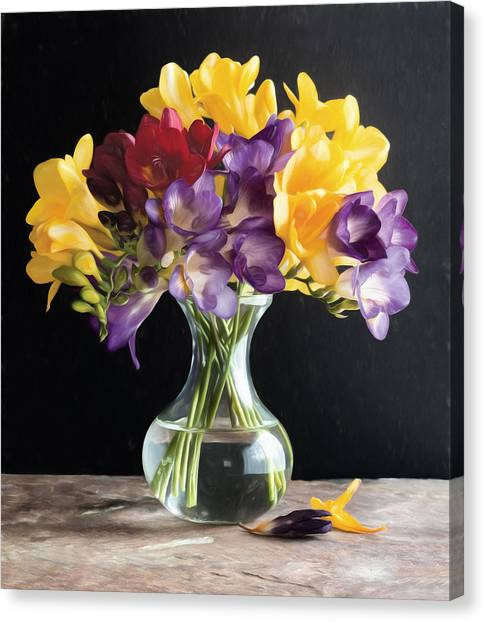 Fresh Freesias Canvas Print