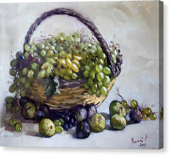 Fruit Baskets Canvas Print - Fresh Grapes And Figs From Lida's Garden by Ylli Haruni