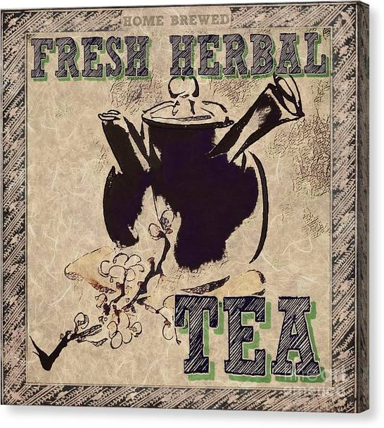 Canvas Print featuring the mixed media Fresh Herbal Tea by Lita Kelley