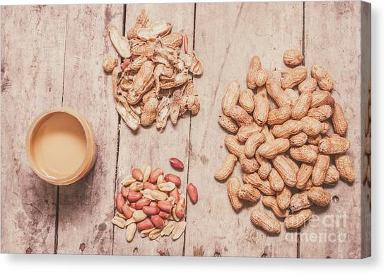 Protein Canvas Print - Fresh Peanuts, Shells, Raw Nuts And Peanut Butter by Jorgo Photography - Wall Art Gallery