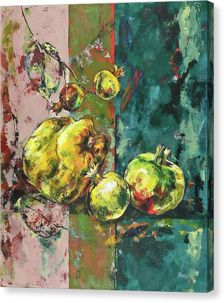 Fresh Quince And Pomegranate Canvas Print