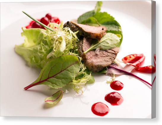 Cranberry Sauce Canvas Print - Fresh Warm Salad With Roasted Beef  by Vadim Goodwill