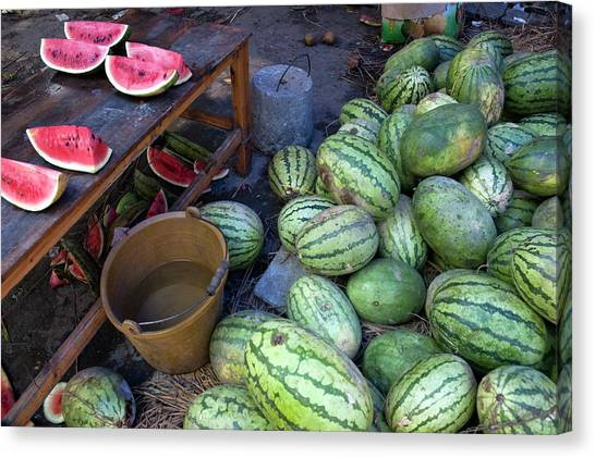 Fresh Watermelons For Sale Canvas Print by Sami Sarkis