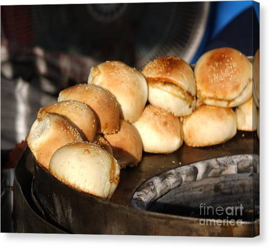 Stuffing Canvas Print - Freshly Baked Buns With Stuffing by Yali Shi
