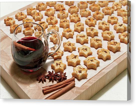 Red Wine Canvas Print - Freshly Baked Cheese Cookies And Hot Wine by GoodMood Art