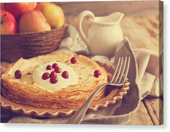Cranberry Sauce Canvas Print - Freshly Baked Pancakes by Jevgeni Proshin