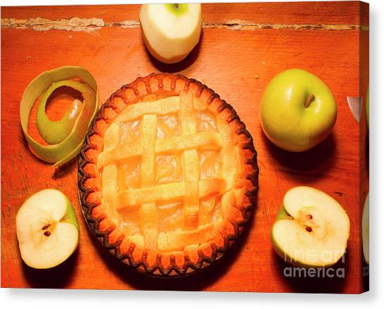 Meals Canvas Print - Freshly Baked Pie Surrounded By Apples On Table by Jorgo Photography - Wall Art Gallery